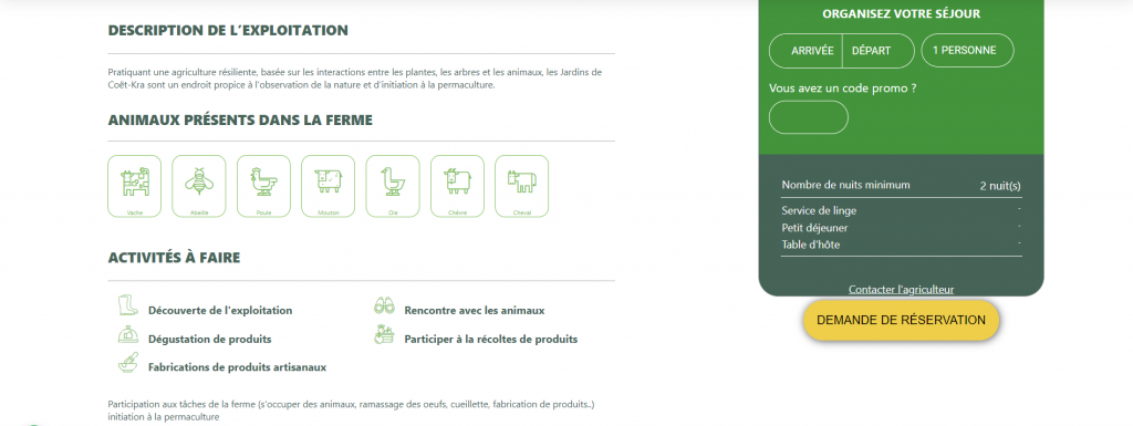 Page de modification du site AgriVillage